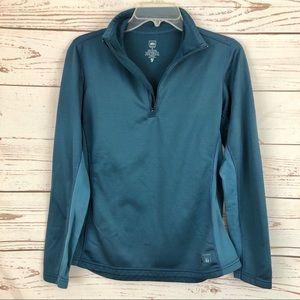 REI Teal Half Zip Fleece Pullover Sweatshirt
